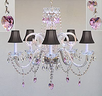 "Chandelier Lighting w/ Crystal Black Shades & Hearts! H25"" X W24"" - Perfect for Kid's and Girls Bedroom!"