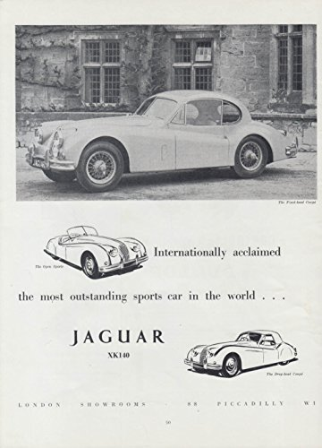 Internationally acclaimed most outstanding sports car Jaguar XK-140 ad 1956