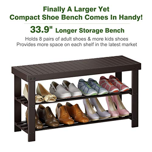 "LANGRIA Large 3-Tier Shoe Bench Entryway, Shoes Rack Organizer Made of Sturdy, Bamboo for 8 Pairs of Shoes, Max Capacity 264 lbs, for Hallway Bedroom (33.9 x 11 x 17.7"", Espresso)"