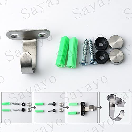 Sayayo Ceiling Hook Towel/Robe Clothes Hook Screw Mounted, Stainless Steel Brushed Finished, 10 Pcs, EX2208-10P