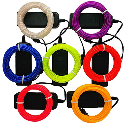 TGHCP-7 Pack 15FT Neon Glowing EL Wire with Battery Pack (Blue,Limegreen,White,Red,Pink,Yellow,Purple,Each of 15FT)