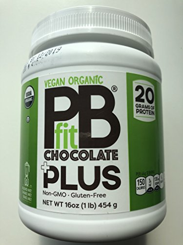 PBfit Plus Chocolate, superfood blend, Vegan Organic Non GMO, Gluten Free, 20 Grams of Clean Whey Protein, Produced by BetterBodyFoods 454 Gram by PBfit