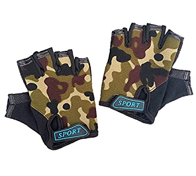 Half Finger Cycling Gloves for Kids Children Breathable Anti-slip Camouflage Outdoor Sports Gloves Boy's Mitten