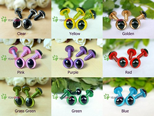12mm Safety Cat Eyes Plastic Doll Eyes (CE) - Clear / Yellow / Golden / Pink / Purple / Red / Grass Green / Green / Blue - 1 Pair of Each Color