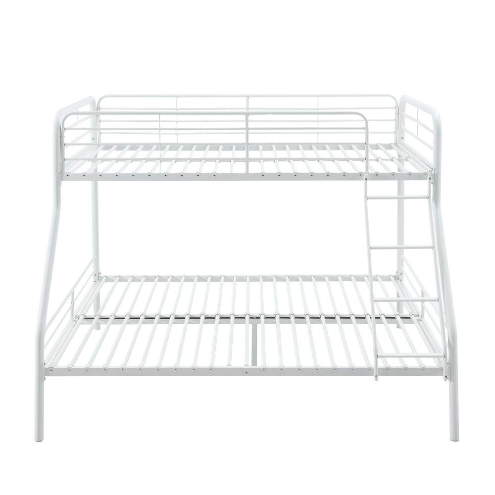 AmazonBasics Heavy Duty Twin-Over-Full Metal Bunk Bed, Easy Assembly with Enhanced Upper-Level Guardrail, White