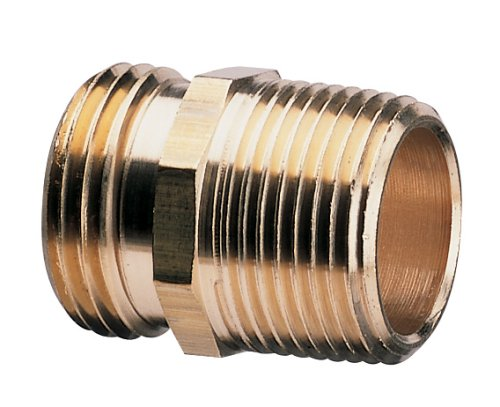 Garden Hose Pipe (Nelson Industrial 50571 Double-Male Brass Pipe and Hose Fitting for Connecting to 3/4-Inch Female Hose)