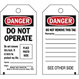 Brady Lockout Tag, Danger: ''Do Not Operate...Place Photo Here'', Economy Polyester, 5 3/4'' x 3'' (80 Pack)