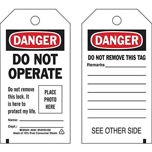 Brady Lockout Tag, Danger: ''Do Not Operate...Place Photo Here'', Economy Polyester, 5 3/4'' x 3'' (50 Pack)