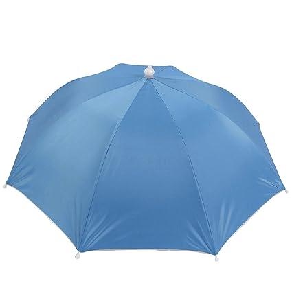 2b99c8142d561 Amazon.com  uxcell Portable Umbrella Hat Cap Head Fishing Camping Hiking Outdoor  Foldable Blue  Garden   Outdoor