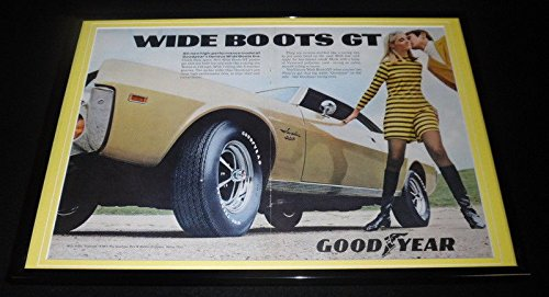 1969 Goodyear Wide Boots GT Tires Framed 12x18 ORIGINAL Advertising Display from Steel City Galleries