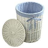Laundry Basket Dirty Hanger Rattan Laundry Basket Storage Basket Valid for 20 Years Prevent Clothing from Being Scratched Clothing & Closet Storage (Color : White, Size : 42 * 50 cm/17 * 20 inch)