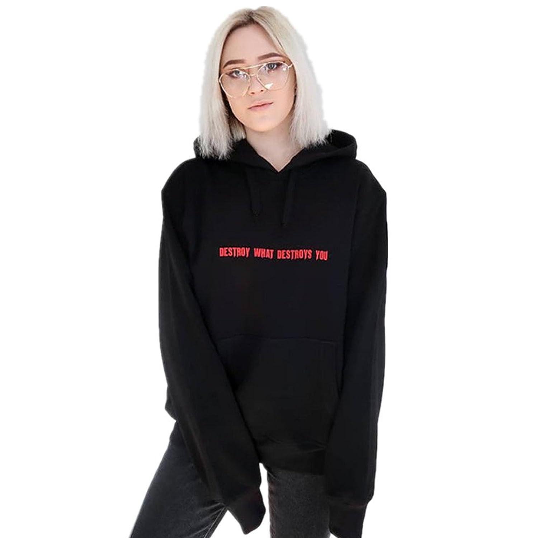 3c98fc7fc2393d gut eingezäunt LeeY Damen Mode Brief Gedruckt Hoodies Sweatshirt Frauen  Beiläufig Langarm Mit Kapuze Pullover Tops
