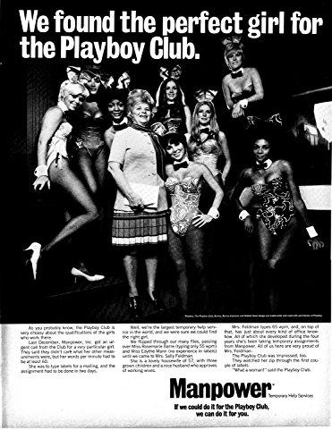 - 1969 Playboy Bunnies In Uniform- Ears- Manpower Original 13.5 * 10.5 Magazine Ad