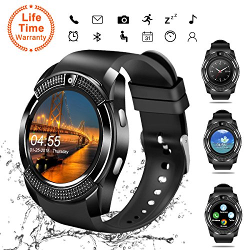 Smart Watch, Bluetooth Smartwatch Touch Screen Wrist Watch with Camera/SIM Card Slot,Waterproof Smart Watch Sports Fitness Tracker Android Phone Watch Compatible with Android Phones Samsung Huawei