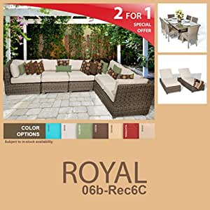 Royal 15 Piece Outdoor Wicker Patio Furniture Package ROYAL-06b-Rec6C