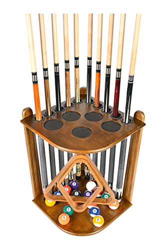 - Cue Rack Only - 10 Pool - Billiard Stick & Ball Floor Rack - Holder Choose Mahogany or Oak Finish (Oak)