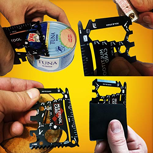 37 IN 1 Wallet Credit Card Multitool + Camping Gadgets Gift Set | Cool Gifts for Men: EDC Black Wallet Survival Tool & Other Cool Gadgets for Men | Multi Purpose Credit Card Knife Pocket Tool