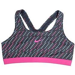 Nike Pro Classic Bolt Women's Sports Bra, Anthracite/Polar/Hot Pink (Large)