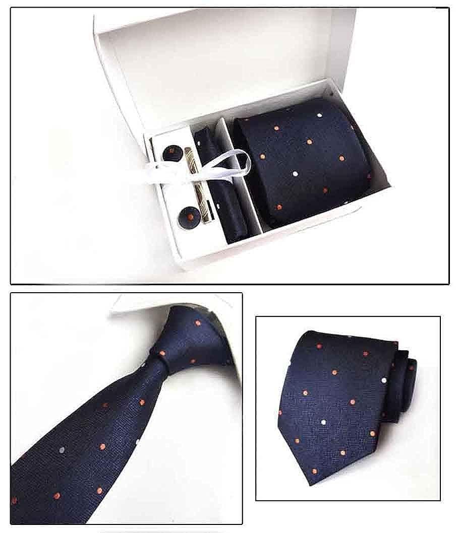 MENDENG Mens Blue Orange Polka Dot Necktie Tie Clip Pocket Square Cufflinks Set