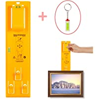 Portable Picture Hanger Levels Marking Tool and Mini Acrylic Keychain Block Level Vial for Photo Frames, Mirrors, Clocks, Artwork, Wall Coverings and All Types of Suspension Hardware(Yellow).