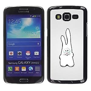 TECHCASE**Cubierta de la caja de protección la piel dura para el ** Samsung Galaxy Grand 2 SM-G7102 SM-G7105 ** White Rabbit Art Drawing Figure Big Ears