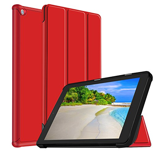 GreenElec Case for All-New Amazon Fire HD 10 Tablet (7th Generation, 2017 Release) Case, Ultra Lightweight Smart Shell Stand Cover with Auto Wake / Sleep for Fire HD 10 2017 Tablet (Red) (Case Cover Hardback Rubberized)