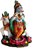 Beautiful Lord Krishna and Cow Playing Flute Indian God Idol
