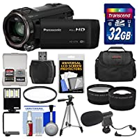 Panasonic HC-V770 Wireless Smartphone Twin Wi-Fi HD Video Camera Camcorder + Card + Case + LED Light + Microphone + Tripod + Tele/Wide Lens Kit