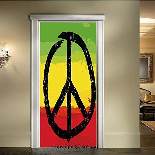 Applique Sticker,Grunge Style Watercolor Design African Flag Colors Hippie Peace Sign Decorative,W30.3xL78.7inch,for Home Decor Self Adhesive Removable Art Door DecalsBlack Green Yellow and Red (Button Applique Decorative Flag)