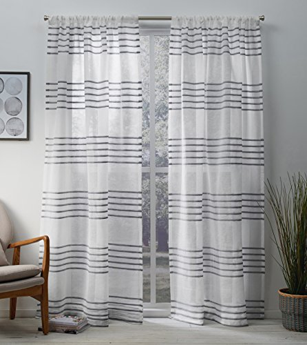 Exclusive Home Curtains Monet Pleated Sheer Linen Cabana Stripe Window Curtain Panel Pair with Rod Pocket, 54x96, Silver, 2 Piece