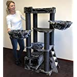Cat Tree for Large Cats – Corner Cat XXL Blackline Dark Grey – 59 inch 105 lbs 5 inch Ø poles – Total size 59x24x22 inch – Cat Scratcher scratching post activity center Cat Trees for large cats. Quali