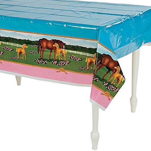 (Horse Mare and Foal Plastic Table Cover - 54