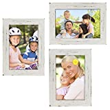 """shabby chic picture frames Rustic Torched Wood Picture Frames: Includes three 4""""x6"""" Photo Frames: Ready to Hang or use Tabletop. Shabby Chic, Driftwood, Barnwood, Farmhouse, Reclaimed Wood Picture Frame (White)"""