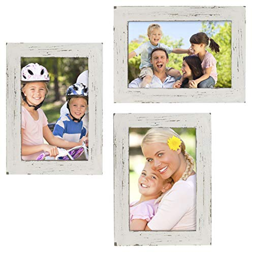 """Rustic Torched Wood Picture Frames: Includes three 4""""x6"""" Photo Frames: Ready to Hang or use Tabletop. Shabby Chic, Driftwood, Barnwood, Farmhouse, Reclaimed Wood Picture Frame (White)"""
