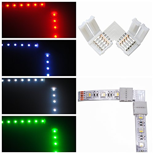 10 Pcs L-Shape 5 Pins Connector RGBW FPC LED Light Strip Connectors 90° Angle Corner Connector With 20 Pack 12mm Strip to Strip Solderless Adapter for SMD 5050 RGBW LED (L-shaped Connector)