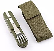 Baitu Fork Spoon,Folding Portable Army Green Picnic Cutlery Stainless Steel Detachable Spork Fork Travel Kit S
