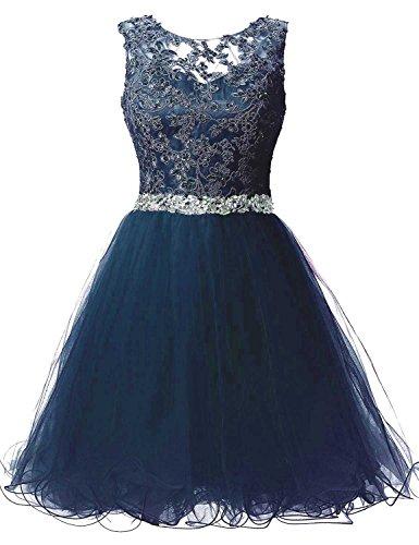 Kurz Tüll Abendkleider Kleider Damen Mit Romantik Navy Blau Perlen Spitzenkleider Cocktailkleider Beyonddress Brautjungfernkleider HRqZnI4