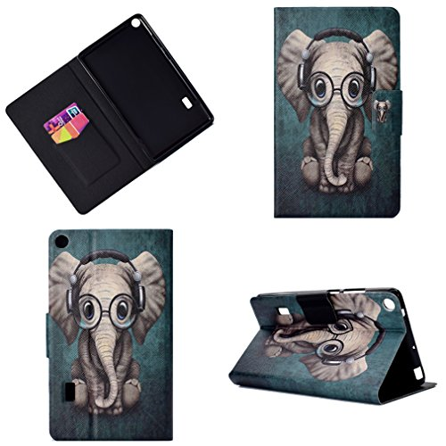 LMFULM? Cover for Huawei MediaPad T3 7 (7,0 Inch) PU Leather Ultrathin Magnetic Closure Foldable Leather Cover Little Dog Wears Headphones Pattern of Bookstyle Auto Sleep / Wake Function Card Slot and Color-4