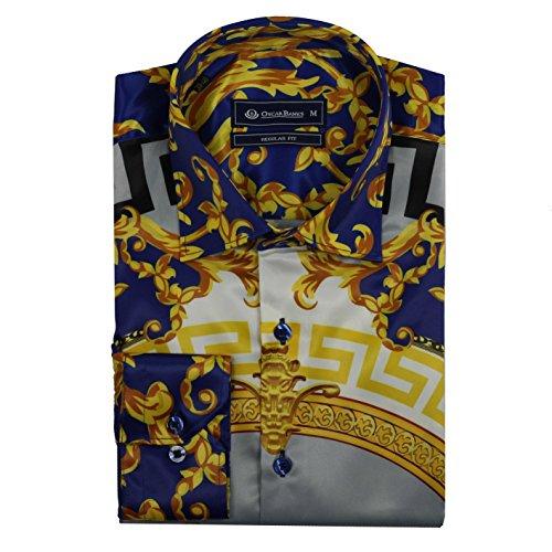 Oscar Banks Mens Retro Designer Blue Gold Mosaic Printed Satin Feel Dress Party Shirt[SHIRT-SL-6427-BLUE-GOLD-M] (Retro Designer Clothing)