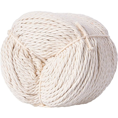 Pangda Cotton Macrame Cord Twine, Craft Rope Yarn for DIY Plant Hanger Wall Hanging Decoration, Natural Color (150 m Long, 4 mm Diameter) -