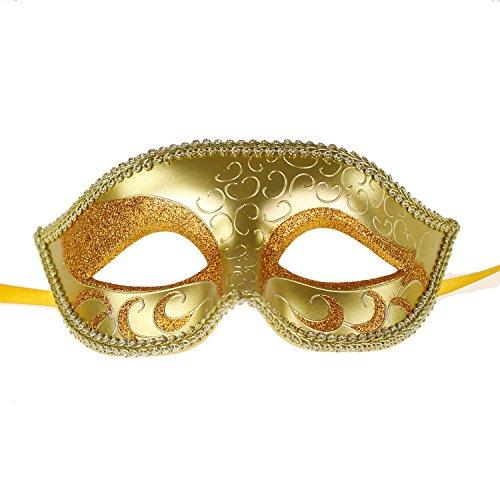 Mens Womens Venetian Masquerade Ball Prom Sparkle Mardi Gras Christmas Costume Masks (Mens Gold) (Gold Mardi Gras Mask)