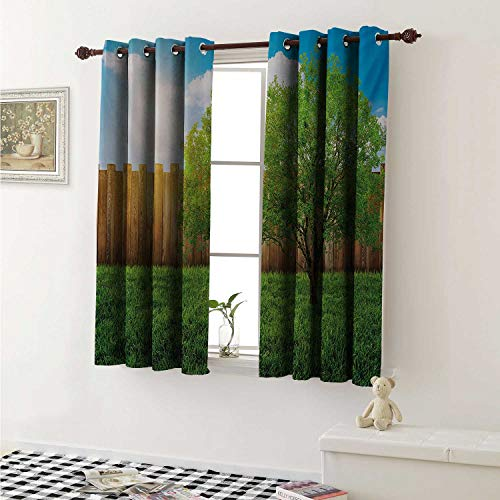 Farmland Thermal Insulating Blackout Curtain Tree of Life in Backyard of a Countryhouse with Sun Tranquil Field Design Art Curtains Girls Room W55 x L39 Inch Green Blue