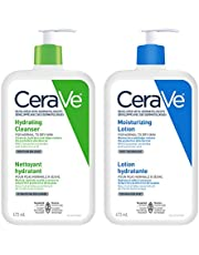 Cerave Daily Face Cleanser and Lotion Bundle, Hydrating Face Wash for Dry Skin and Moisturizing Lotion with Hyaluronic Acid, Fragrance Free, 2x473ml