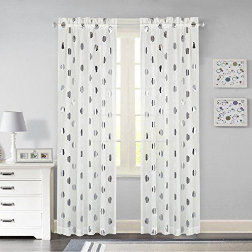 Idea Nuova Metallic Dot Window Curtain Panel, 84-Inch, Silver