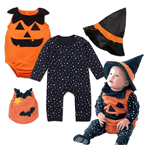 Newborn Baby Halloween Sleeveless Bodysuit + Romper with Magic Cap Clothing Set 6-12mo (Infant Halloween Outfits)