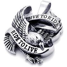 KONOV Stainless Steel Hawk Eagle Pendant Biker Mens Necklace Black Silver 24 inch Chain