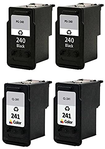 4/Pack PG-240xl 240xl CL-241xl 241xl Black and Color Combo Ink cartridges Compatible with: PIXMA MG 2120 2140 2220 3120 3122 3140 3220 3520 4120 MX 372 374 392 432 434 439 452 459 (Pixma Mx 472)