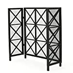 Mandralla 3 Panelled Black Iron Fireplace Screen by GDF Studio