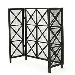 Mandralla 3 Panelled Black Iron Fireplace Screen by GDF Studio