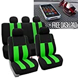 FH Group FH-FB036115 Striking Striped Seat Covers, Green/Black with FH1002 Non-slip Dash Grip Black Pad Mat - Fit Most Car, Truck, Suv, or Van